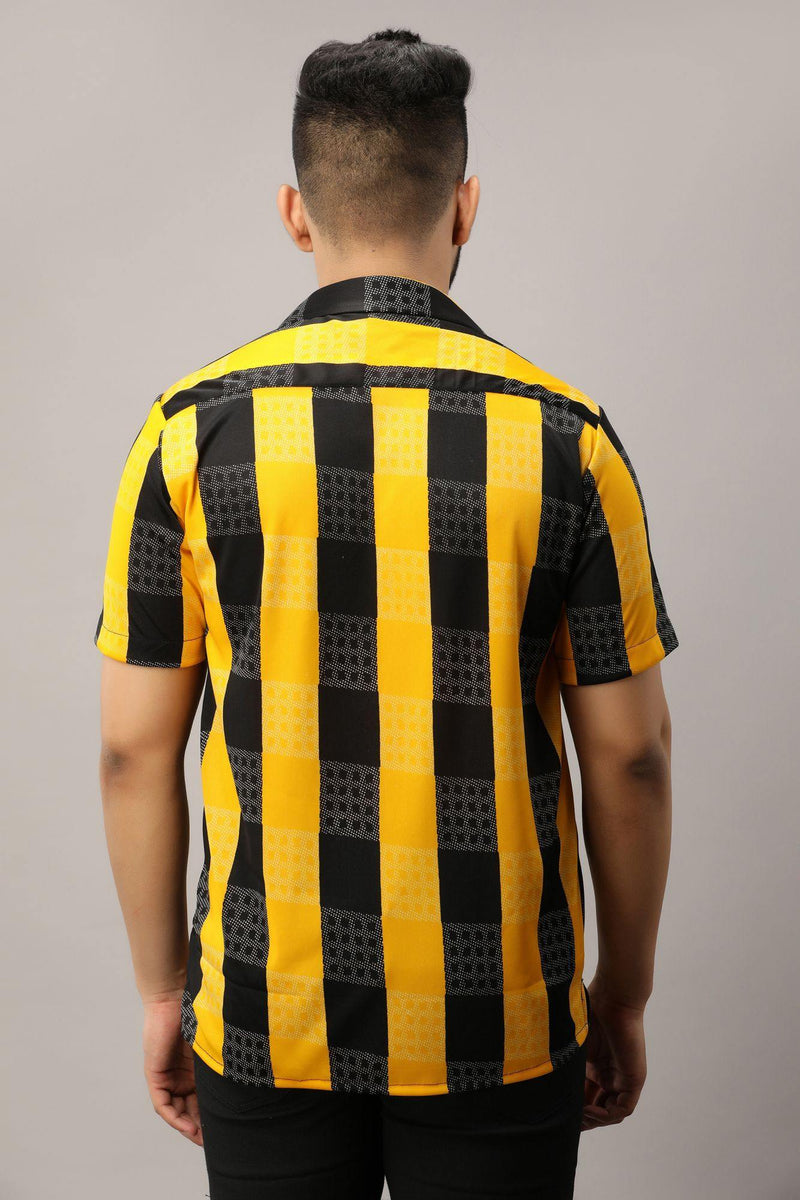 Black n yellow vertical stripes with white dotted horizontal checks. - Chamlooks