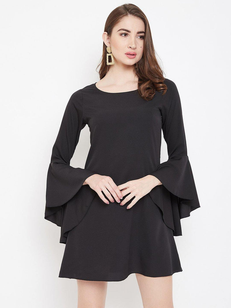 Chamlooks Women Black Solid Fit and Flare Dress - Chamlooks