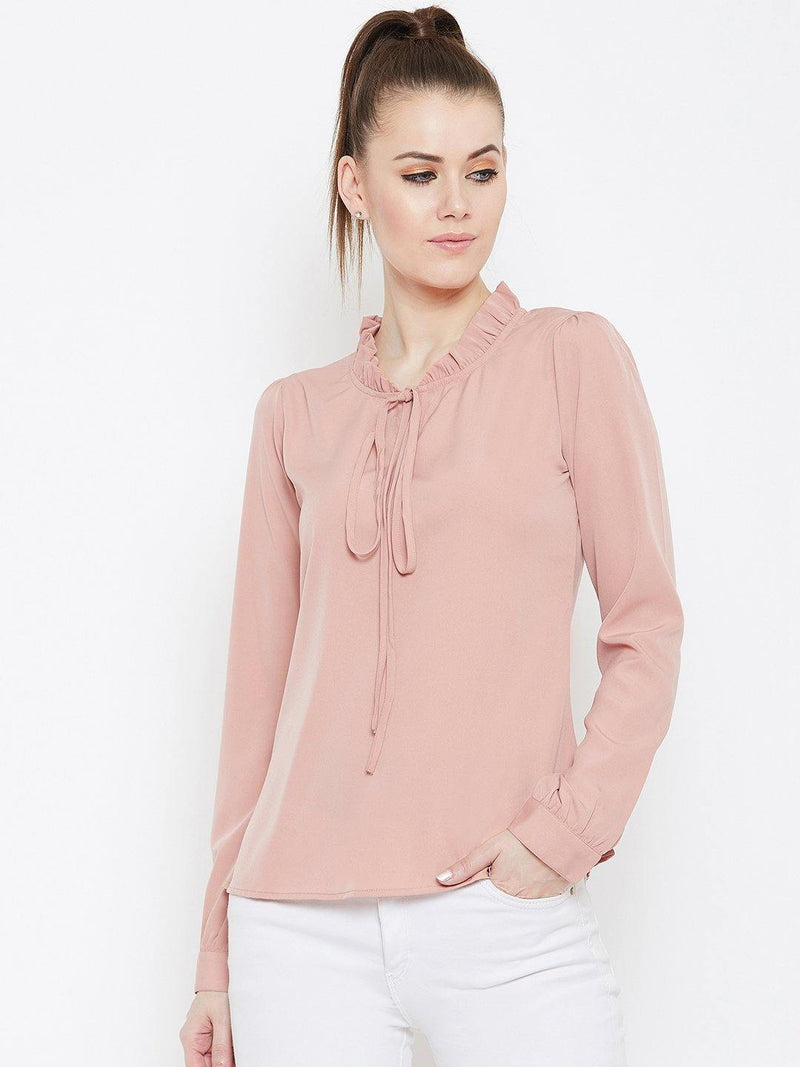Chamlooks Women Peach-Coloured Solid Top