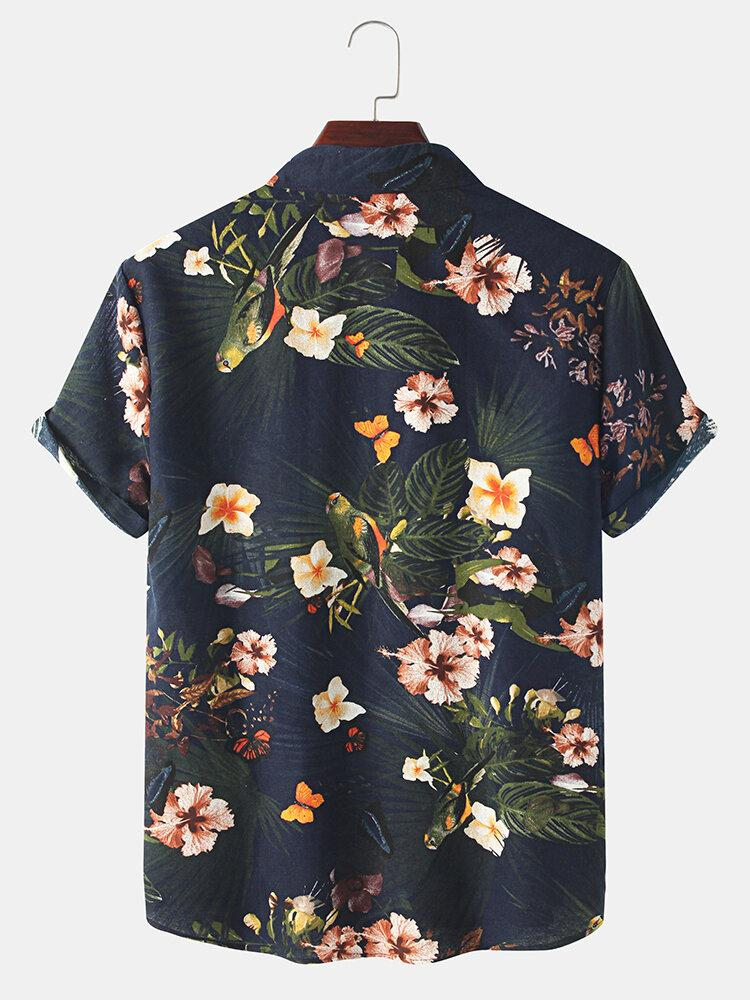 Holiday Vintage Floral Print Lapel Button Casual Short Sleeve Shirt For Men