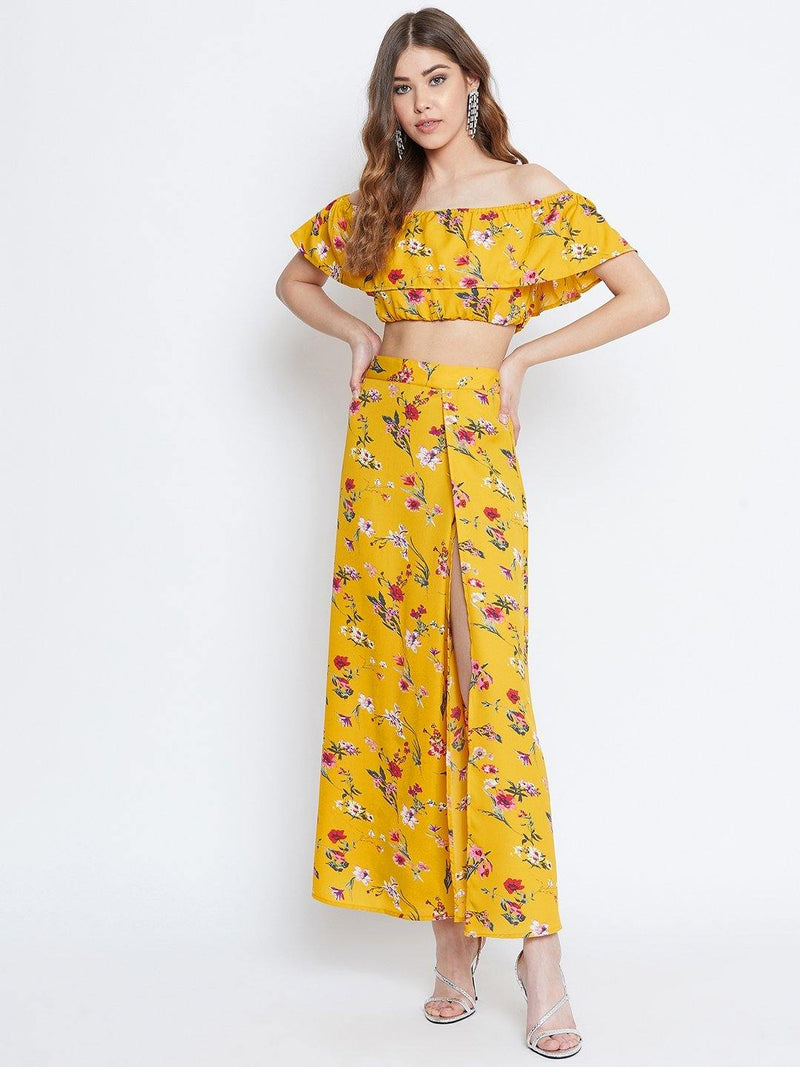 Chamlooks Women Yellow Floral Printed Two-Piece Dress - Chamlooks