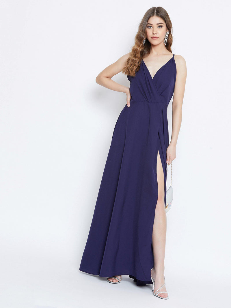 Chamlooks Women Navy Blue Solid Maxi Dress - Chamlooks