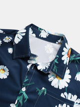 Daisy Allover Print Holiday Casual Lapel Short Sleeve Shirt For Men