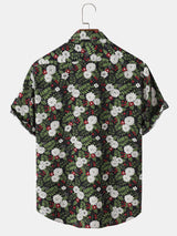Tropical Plant Floral Print Chest Pocket Turn Down Collar Holiday Shirt For Men