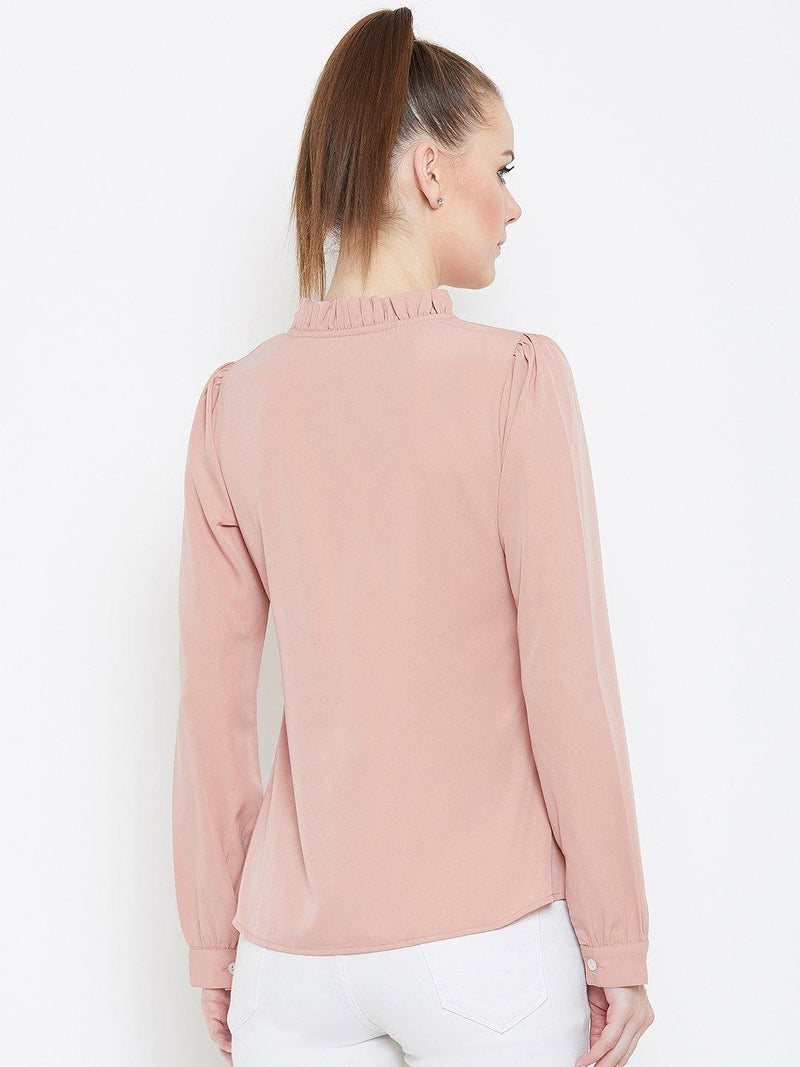 Chamlooks Women Peach-Coloured Solid Top - Chamlooks