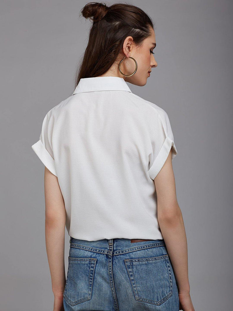 Chamlooks Women White Regular Fit Casual Shirt with Embroidered Detail - Chamlooks