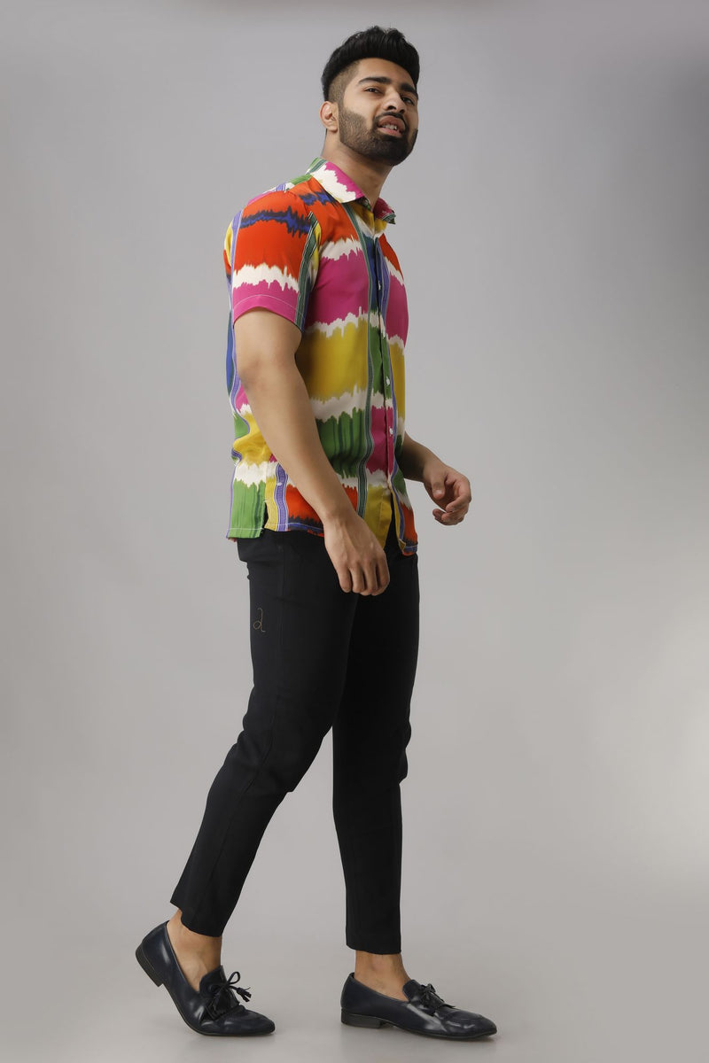 Multicolored Relaxed Fit Floral Printed Casual Shirt Half Sleeves
