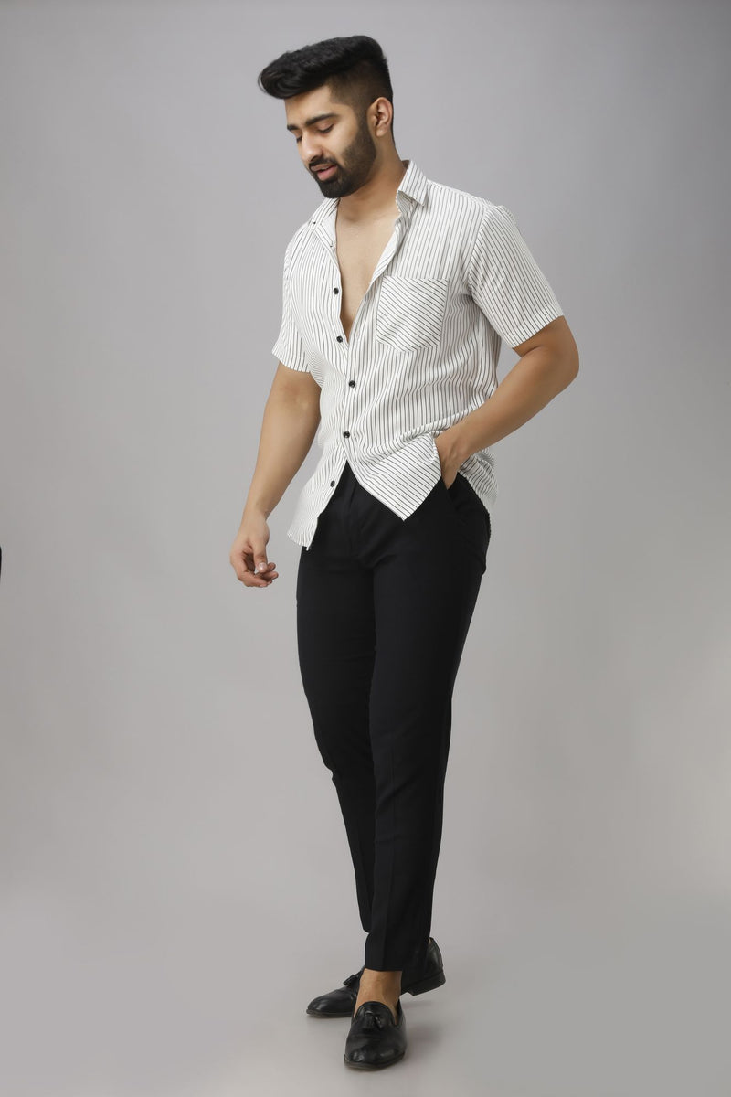 White & Black Slim Fit Casual Shirt Half Sleeves