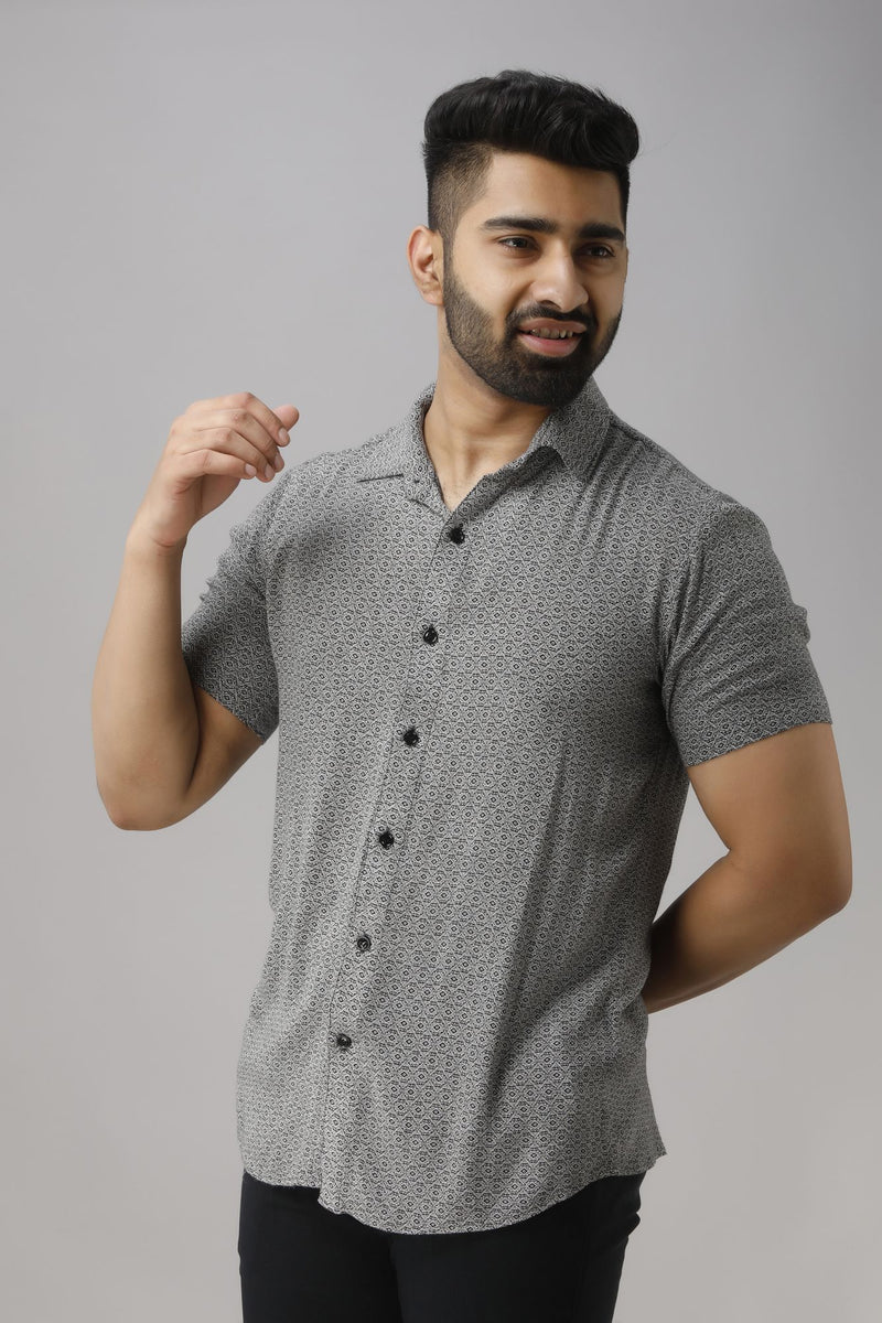 Grey & White Slim Fit Casual Shirt Long Sleeves