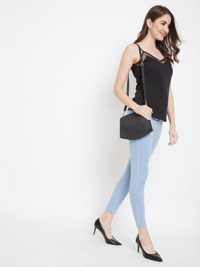 Chamlooks Women Black Solid Top - Chamlooks