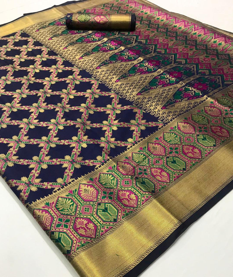 Unique Purple Banarasi Silk Saree