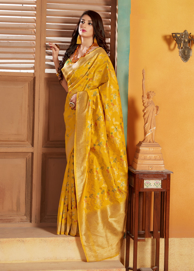 Exotic Yellow Banarasi Silk Saree