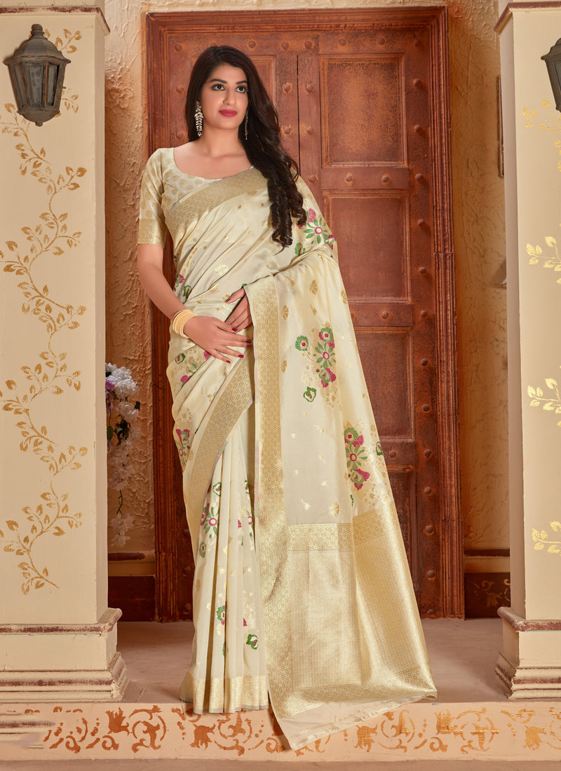Eligent Cream Banarasi Silk Saree