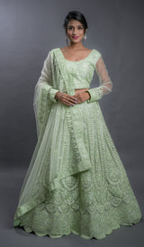 Mint Green Embroidered Net Wedding Lehenga Choli