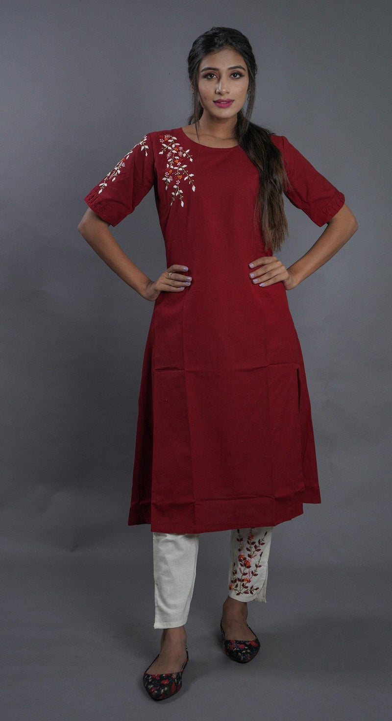 Dark Red Cotton Embroidered Kurti With Pant