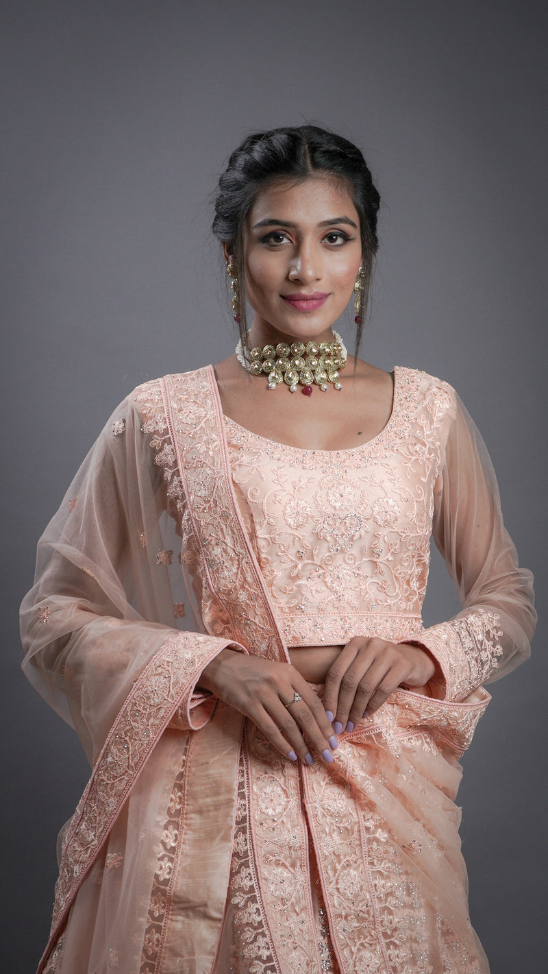 Light Peach Embroidered Net Lehenga Choli