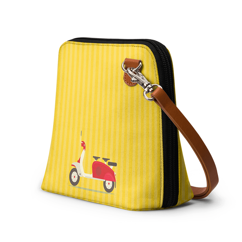 3 To Go Scooter Yellow Striped - Trapeze Crossbody Bag - Chamlooks