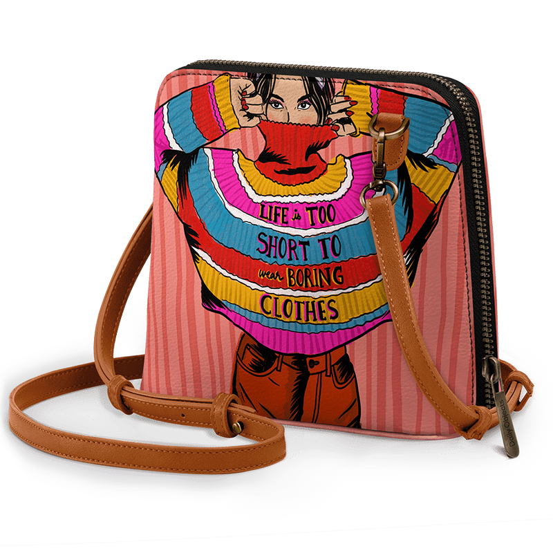 Colourblock Jumper - Trapeze Crossbody Bag - Chamlooks
