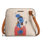 Cornflower Blue Blooms - Trapeze Crossbody Bag - Chamlooks