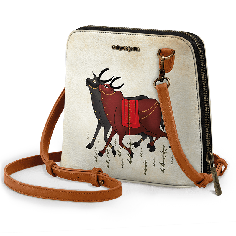 Cow Couple - Trapeze Crossbody Bag - Chamlooks