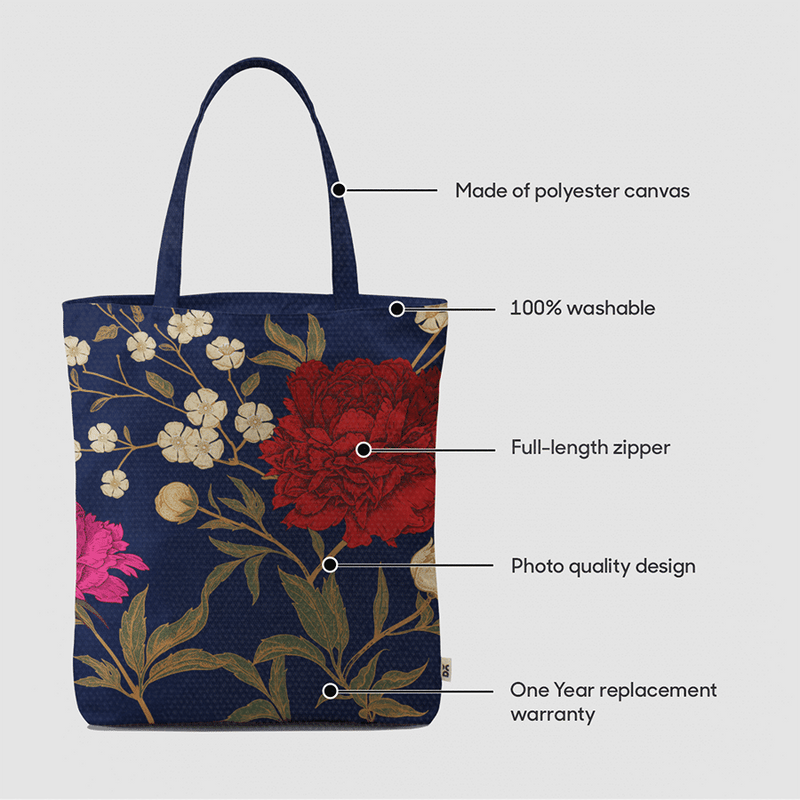 Midnight Chrysanthemums Baesic Tote Bag - Chamlooks