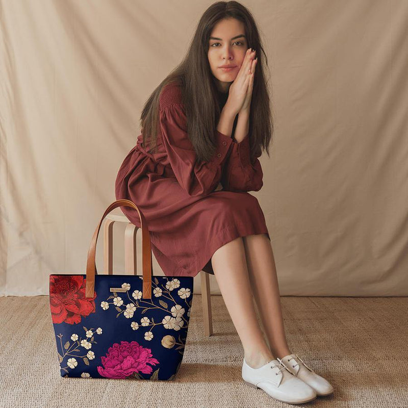 Midnight Chrysanthemums Fatty Tote Bag - Chamlooks