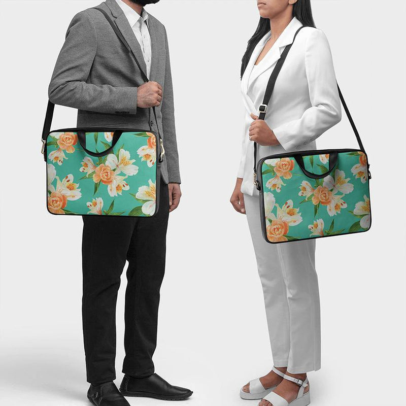 "Mint Blooms City Compact Messenger Bag For Up To 15.5"" Laptop/MacBook - Chamlooks"