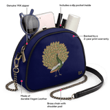 Navy Peacocking - Arch Crossbody Bag