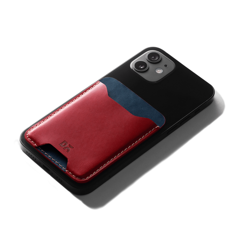 Scarlet Red CardSafe Leather Phone Wallet - Chamlooks