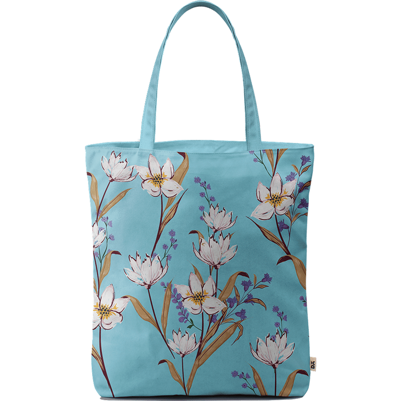 Sky Blue Lilies Basic Tote Bag - Chamlooks