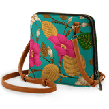 Teal Hibiscus - Trapeze Crossbody Bag