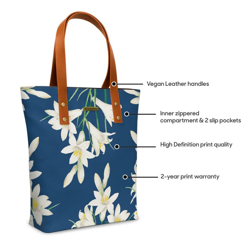 White Lilies Classic Tote Bag - Chamlooks