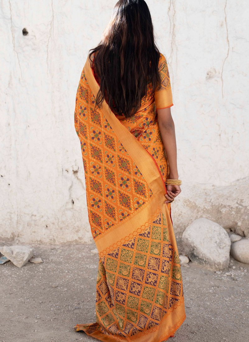 Pretty Orange Banarasi Silk Saree