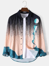 All Over Landscape Print Lapel Casual Long Sleeve Shirt For Men