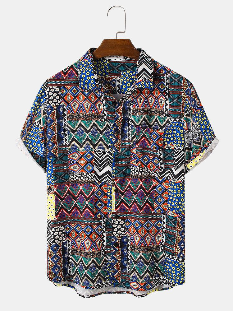 Tribal Graphics Short Sleeve Chest Pocket Holiday Shirt For Men