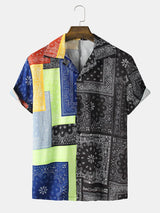 Paisley Print Colorblock Short Sleeve Shirt For Men