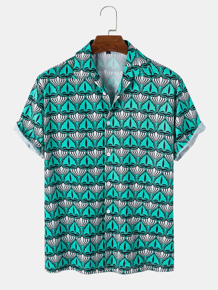 Allover Abstract Print Button Up Street Short Sleeve Shirt For Men