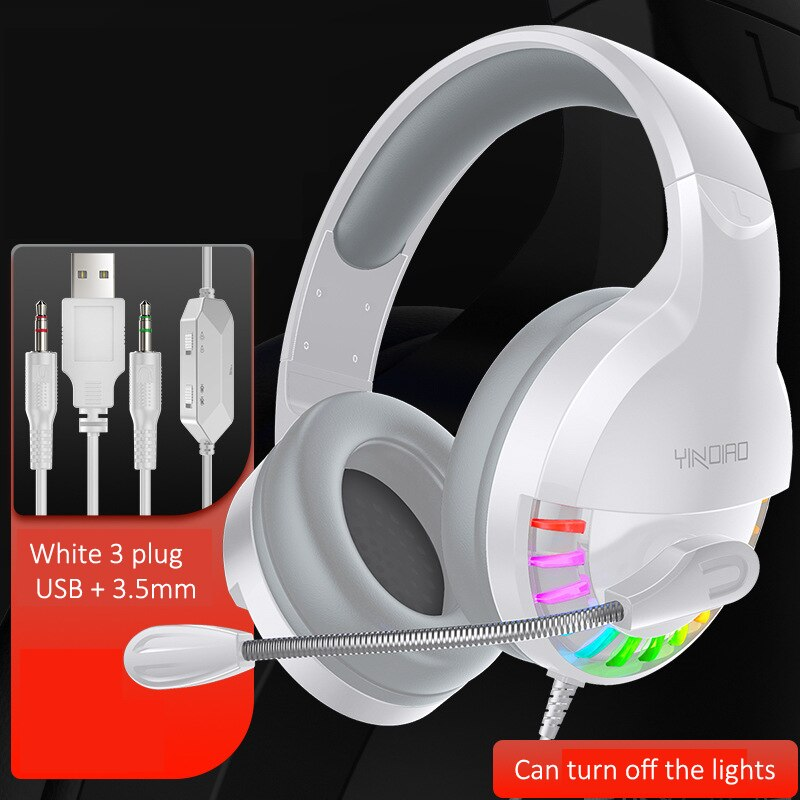 N1 3.5mm USB Stereo Wired Gaming Headset over ear RGB w/mic Voice control