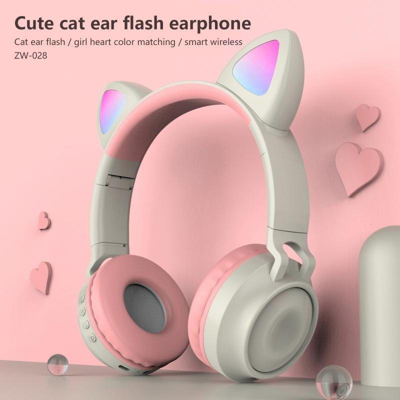2020 New Girls cute Bluetooth 5.0 Headphones LED ANC Jack 3.5mm w/ Microphone - Audio Dynamiks