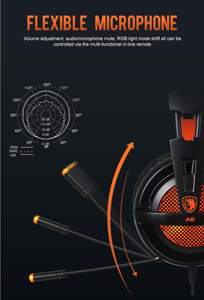 A6 USB 7.1 Wired Stereo Gaming headset over ear w/ mic Voice Control - Audio Dynamiks