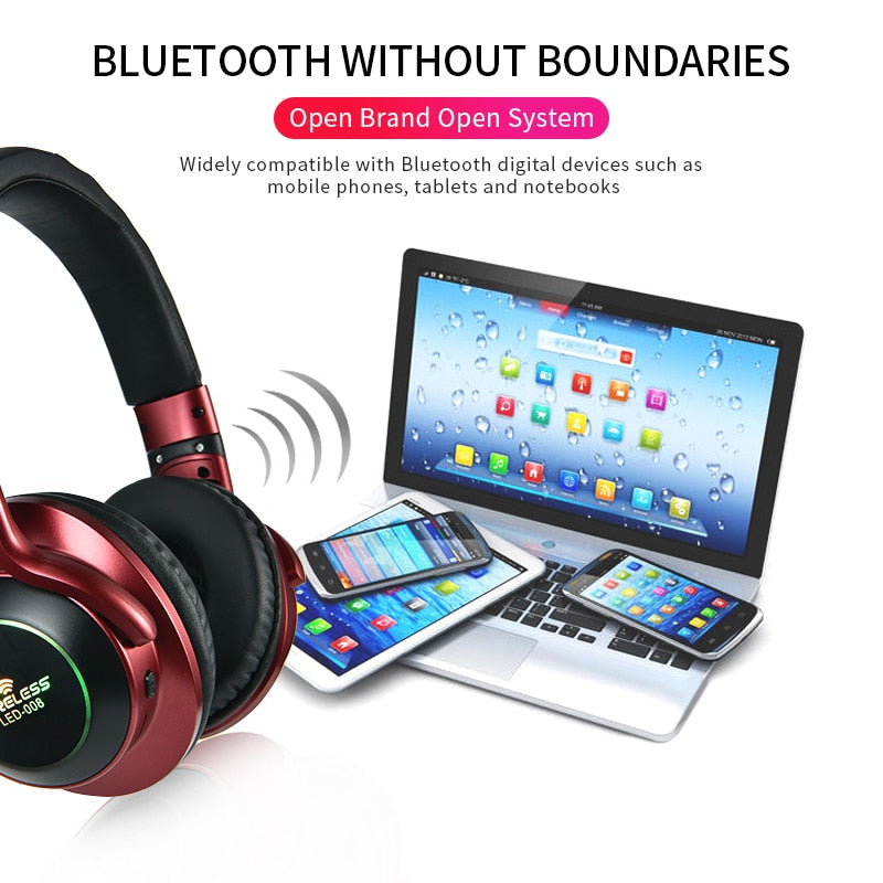 LED Light Wireless Bluetooth Headset 3D Stereo w/ Mic  TF Card FM Mode and Audio Jack