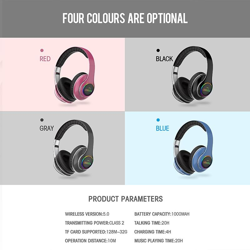 Bluetooth  Foldable Gaming Headset w/ LED Light 3D Stereo Sound and 6 Equalizer Modes - Audio Dynamiks