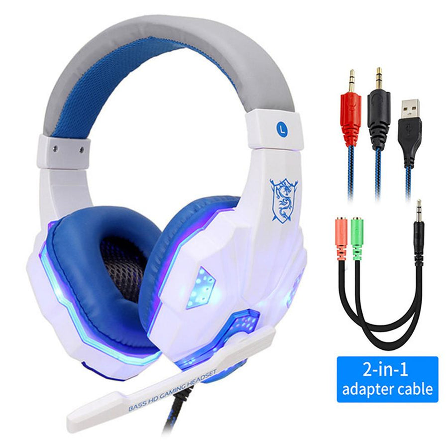 Professional Led Light Gaming Headsets Adjustable Bass Stereo w/ Mic