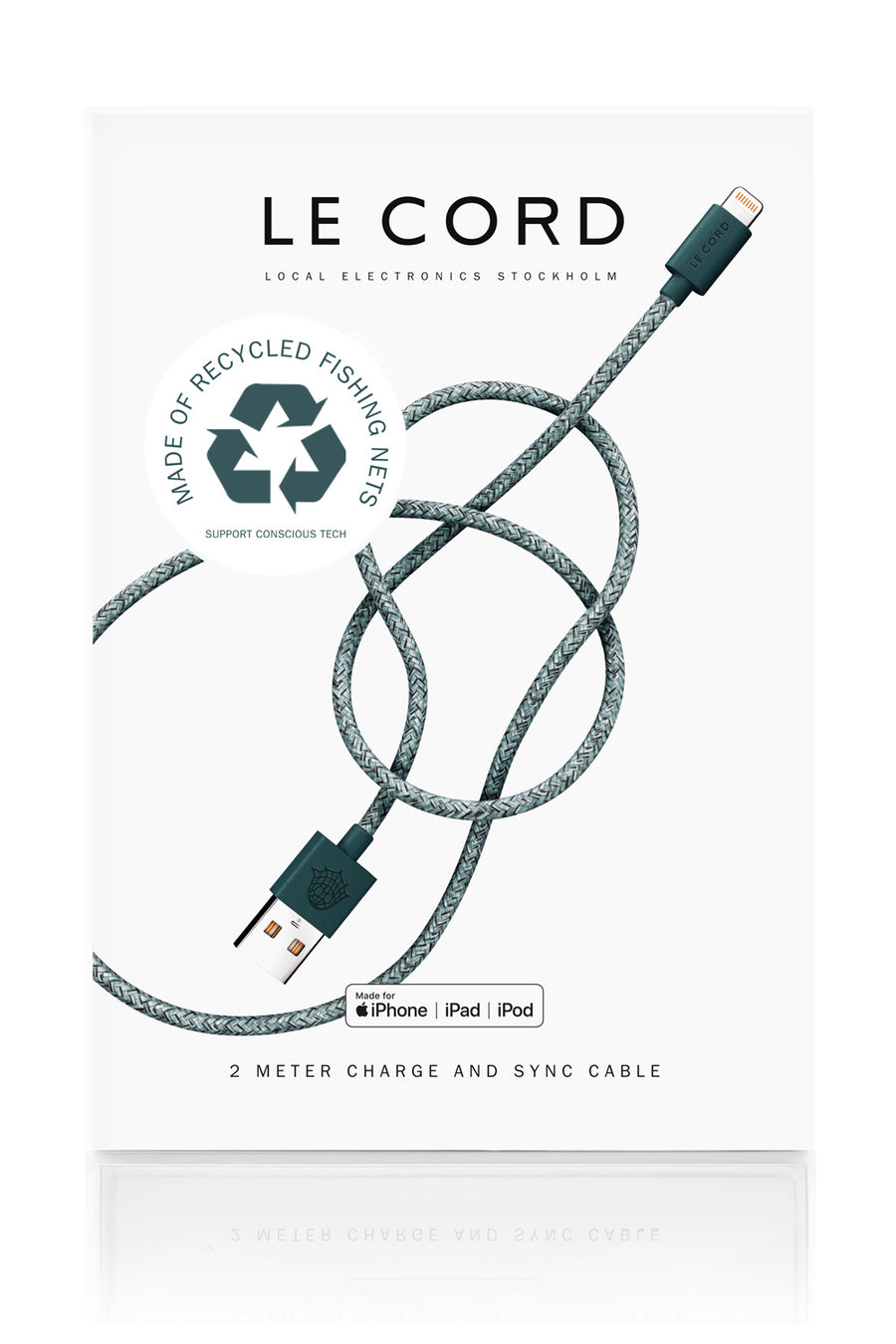 Sustainable Eco-friendly iPhone Charging Cable Green