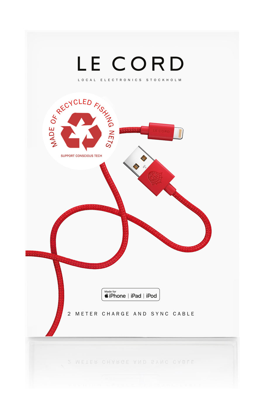 Sustainable Eco-friendly iPhone Charging Cable Red