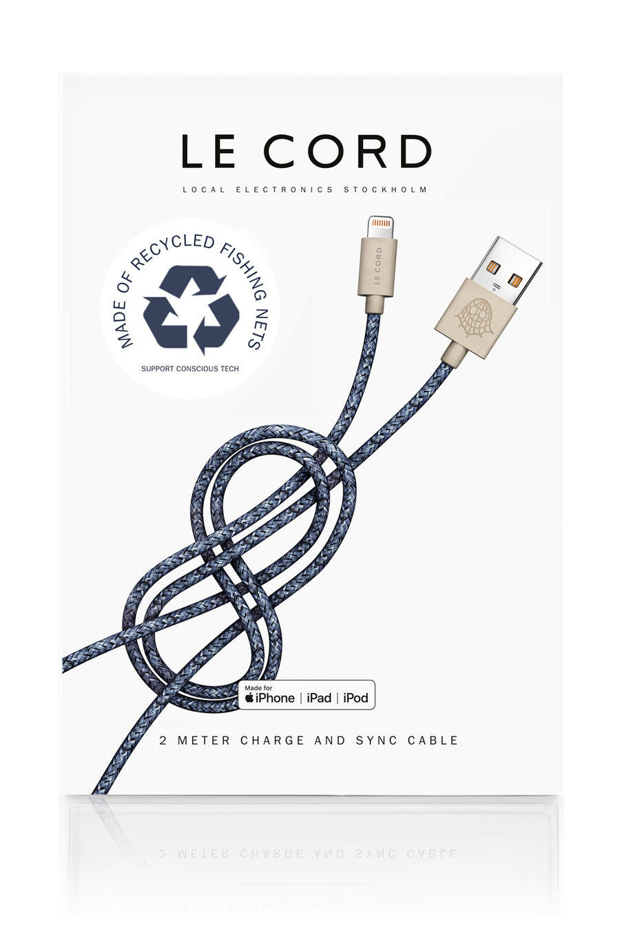 Sustainable Eco-friendly iPhone Charging Cable Blue