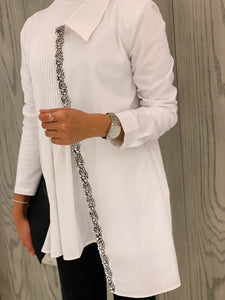 White Strass Blouse Crepe - Cotton - Stretch
