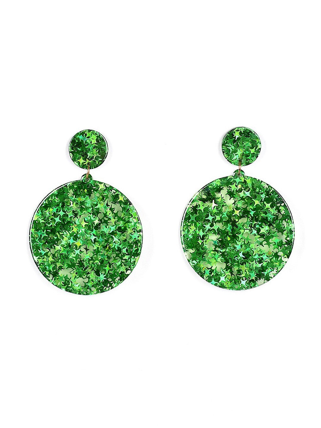 Earrings Green Stars Circles Women