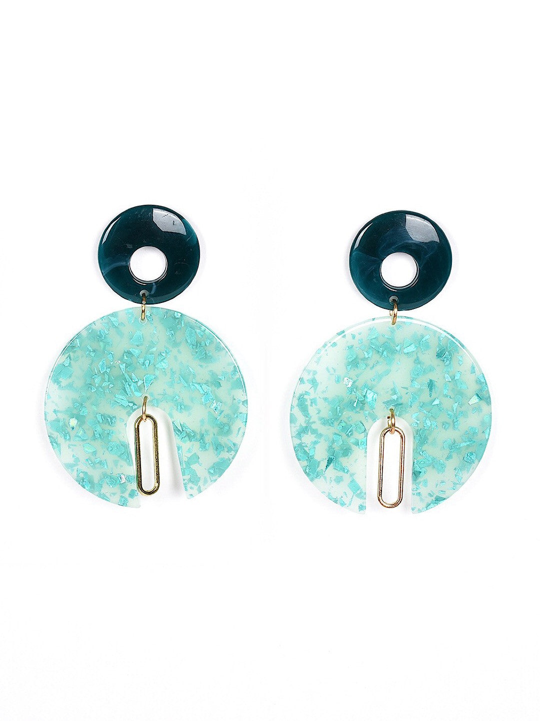 Earrings Turquoise Navy Circles Women