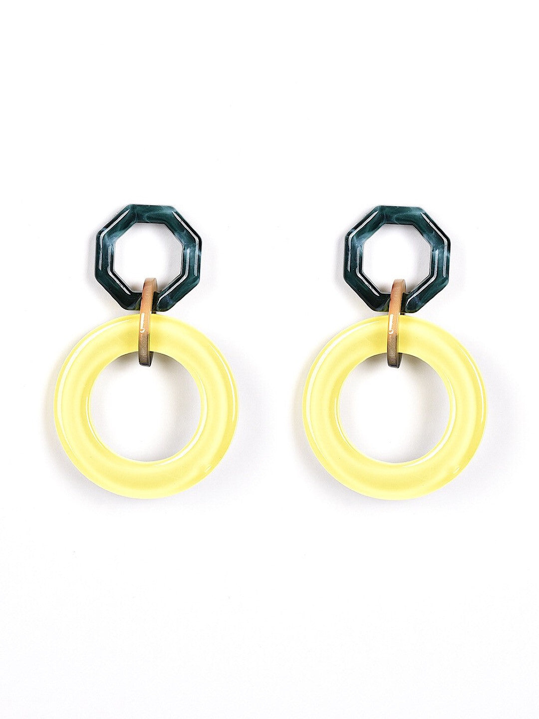 Earrings Yellow Navy Circles Women